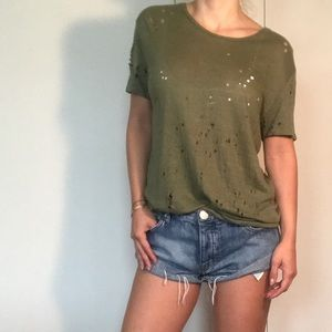 IRO distressed linen tee with holes